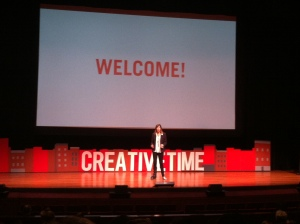 Anne Pasternak welcomes the crowd at the 2013 Creative Time Summit.